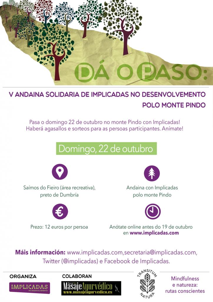 """Cartel V Andaina solidaria """"Dá o paso"""" polo monte Pindo"""